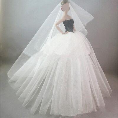 Handmade Royalty Princess Dress/Wedding Clothes/Gown + veil for Barbie Doll 4