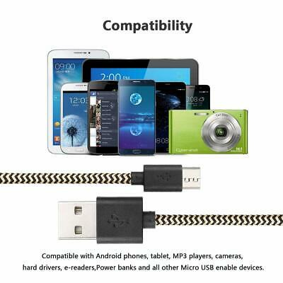 Heavyduty Braided Micro USB Charger Charging Lead Data Sync Phone Cable 1M 2M 3M 7