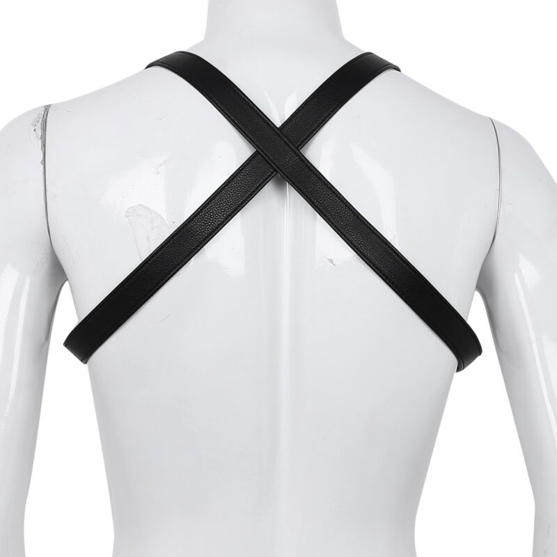 Herren Brustharness Kunstleder Männer Harness Body Geschirr Unterwäsche Schwarz 8