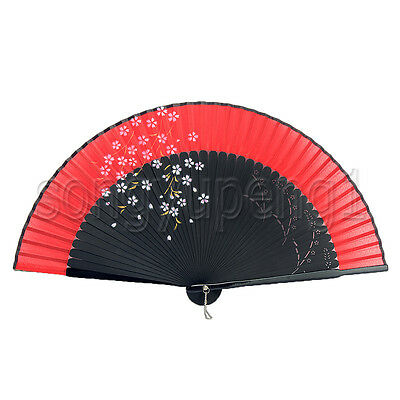 7c879151d ... Japanese Silk Vintage Handheld Folding Fan with Cherry Blossoms Prints  Bamboo US 2