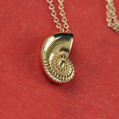 Gold Silver Plated Conch Fossil Ammonite Shell Necklace Pendant Nautical 3