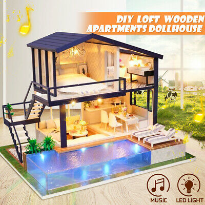 AU DIY LED Music Dollhouse Miniature Wooden Furniture Kits Doll House Xmas Gift 2