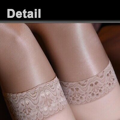 Women's Shiny Glossy Stretchy Thigh High Stockings Lace Silicone Stay Up Hosiery 6