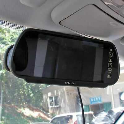 "7"" LCD Rear View Mirror Monitor + Wireless Car Reverse  Backup Waterproof Camera 2"