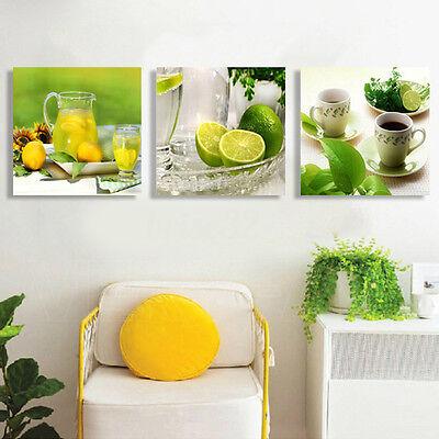 3pcs Modern Lemon Tea Canvas Print Art Painting Wall Picture Home Decor Unframed 4