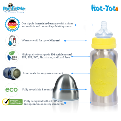 Hot-Tot Stainless Steel Insulated Infant Baby 7 oz Eco Feeding Bottle Silver Yel 3
