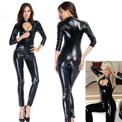 112361ab808e ... Women Vinyl PVC Wetlook Leather CATSUIT CLUBWEAR Bodysuit Motor Jumpsuit  Black 11