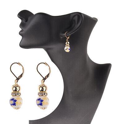 2 Beads Colored Enamel Gemstone Earrings Bohemian Handmade Fashion Earrings Gift 12