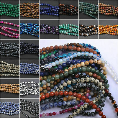 Wholesale Natural Stripe Agate DIY Gemstone Round Spacer Loose Beads 4/6/8/10MM 2