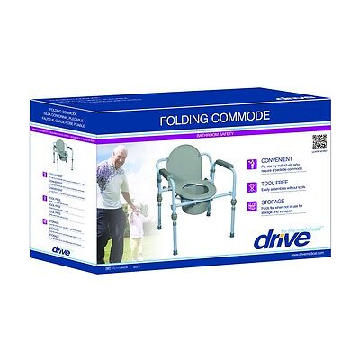 Drive Medical Folding Steel Commode RTL11158KDR Potty Chair ~Free Shipping~NEW 8