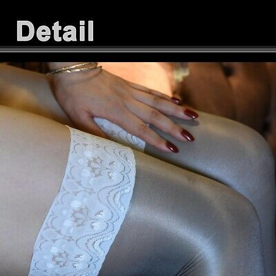 Women's Shiny Glossy Stretchy Thigh High Stockings Lace Silicone Stay Up Hosiery 4