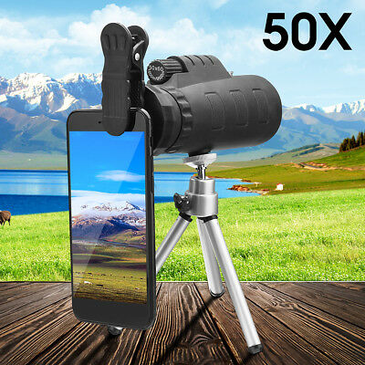 50x60 Portable HD Optical Monocular Telescope Day/Night Vision+Phone Clip+Tripod 2
