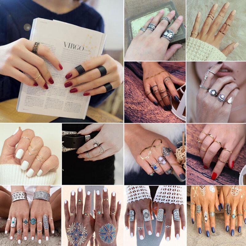 New Bohemian Vintage Women Silver Elephant Turquoise Finger Rings Punk Ring Gift 3