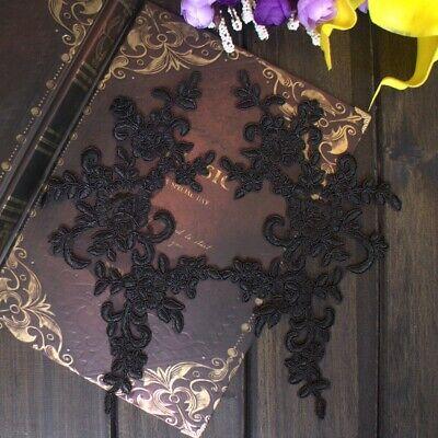 1Pair Embroidered Flower Lace Applique Motif Trim Wedding Dress Sew Crafts DIY 1 12