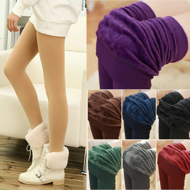 Women Winter Thermal Thick Fleece Skinny Slim Fit Leggings Stretch Pants Trouser 2