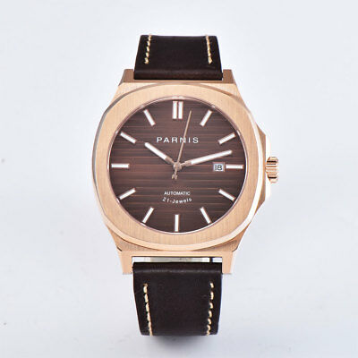 1ad40577d ... 45mm PARNIS Rose Gold Case Automatic Mens Watch Sapphire Crystal  Leather strap 2