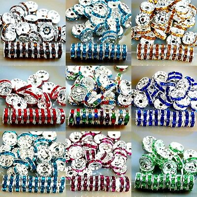 100pcs Czech Crystal Rhinestone Silver Rondelle Spacer Beads 4,5,6,8,10mm 2
