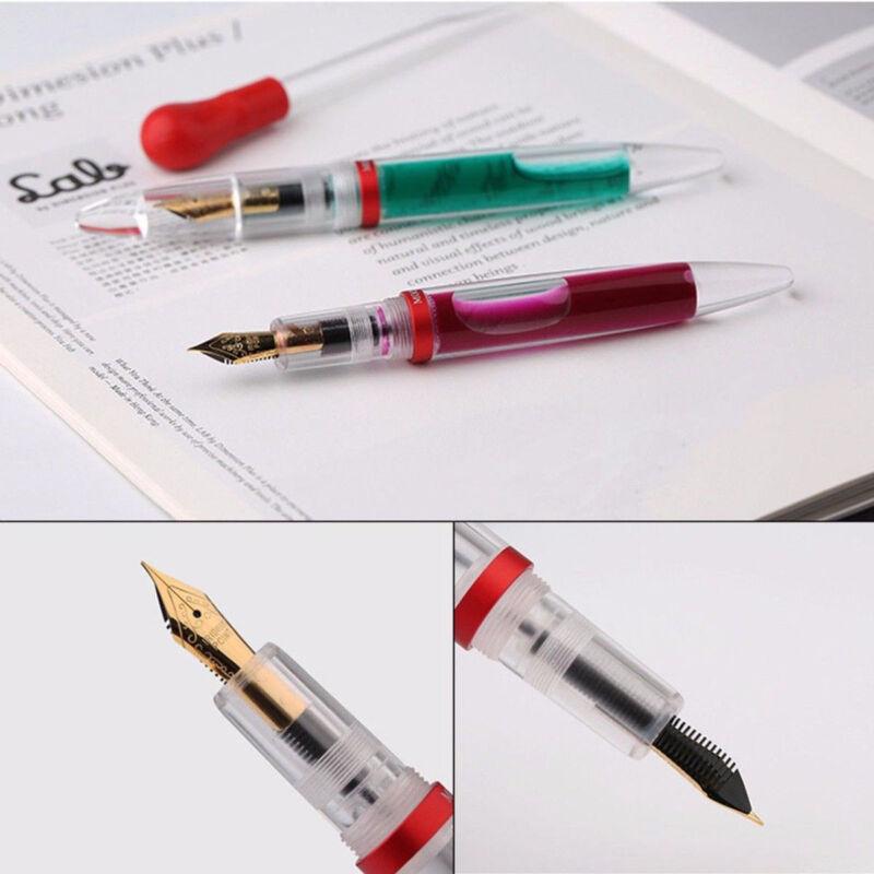 Moonman M2 Transparent  Fountain Sheet Metal Pen Extra Fine Nib for Birthday Gif 4