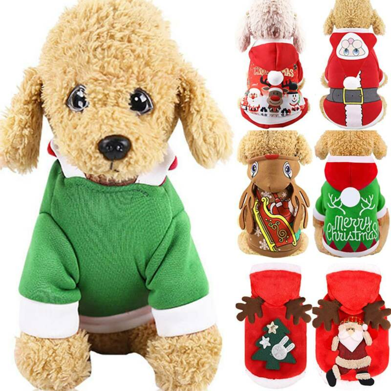 UK Pet Cat Dog Christmas Outfit Costumes Sweater Hoodie Dress Xmas Clothes Coat 5