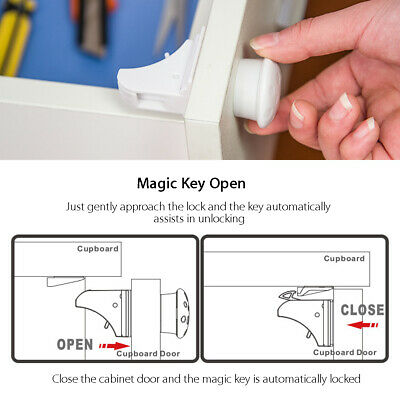 Magnetic Cabinet Locks Child Baby Proof Safety Cupboard Drawer Home Kitchen Door 6