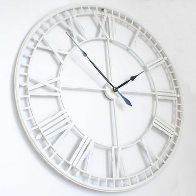 Extra Large White Metal Iron Roman Numeral Wall Clock
