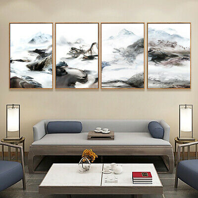 Black and white Smoke Fog Canvas Poster Abstract Art Picture Wall Hangings Decor 3