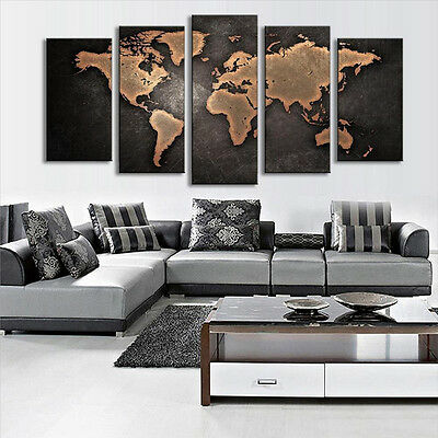 5PCS Unframed Vintage World Map Modern Canvas Print Wall Art Painting Picture 4
