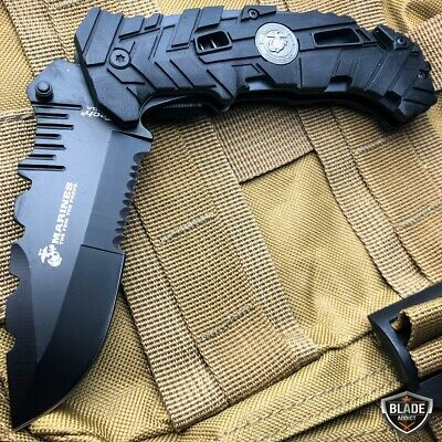 """9"""" MTECH USMC MARINES Spring Assisted Open Tactical Rescue Folding POCKET KNIFE 3"""