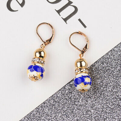 2 Beads Colored Enamel Gemstone Earrings Bohemian Handmade Fashion Earrings Gift 7