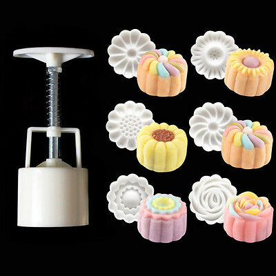 6 Style Stamps Round Flower Moon Cake Mold Mould White Set Mooncake Decor 50g 2
