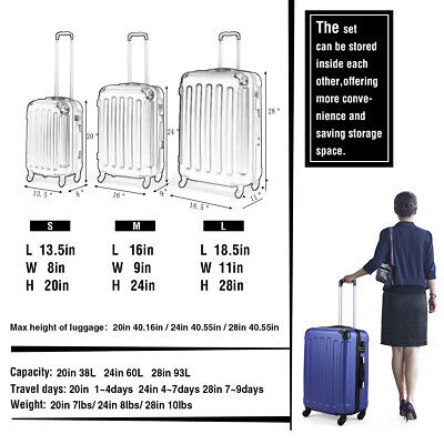 3 Piece Luggage Set Travel Trolley Suitcase ABS+PC Nested Spinner w/ Cover Blue 2