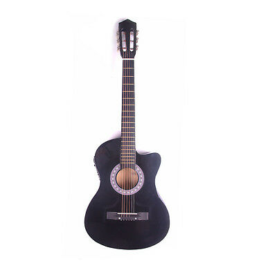 Electric Acoustic Guitar Cutaway Design With Guitar Case, Strap  Black New 2