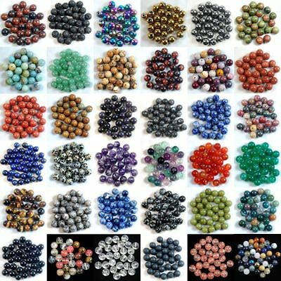 Natural Gemstone Round Spacer Loose Beads 4mm 6mm 8mm 10mm Assorted Stones DIY 3