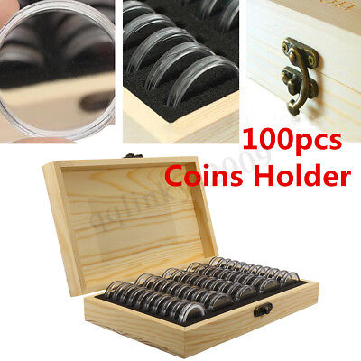 AUS 100pcs Coin Capsule Holder Wooden Container Storage Box Display Case 2