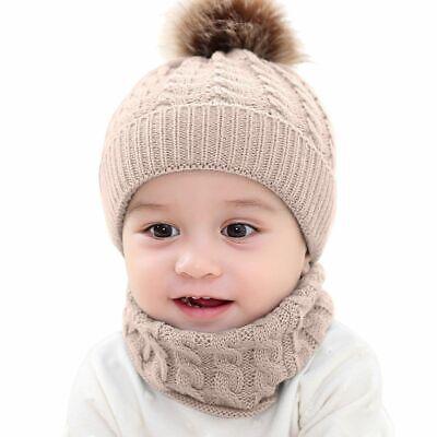 Newborn Baby Toddler Winter Warm Knitted Crochet Beanie Hat Cap Scarf Sets Boy 6