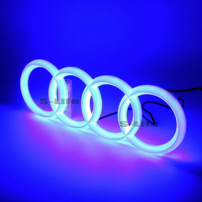 Sport Car Led Grille Logo Emblem Light For Audi Q3 Q5 Q7 A6 A7 28.8X9.9 CM Red