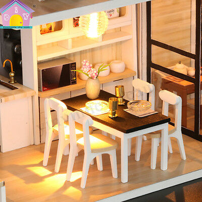 DIY LED Wooden Dollhouse Miniature Wooden Furniture Kit Doll House Kid's Toy AU 6