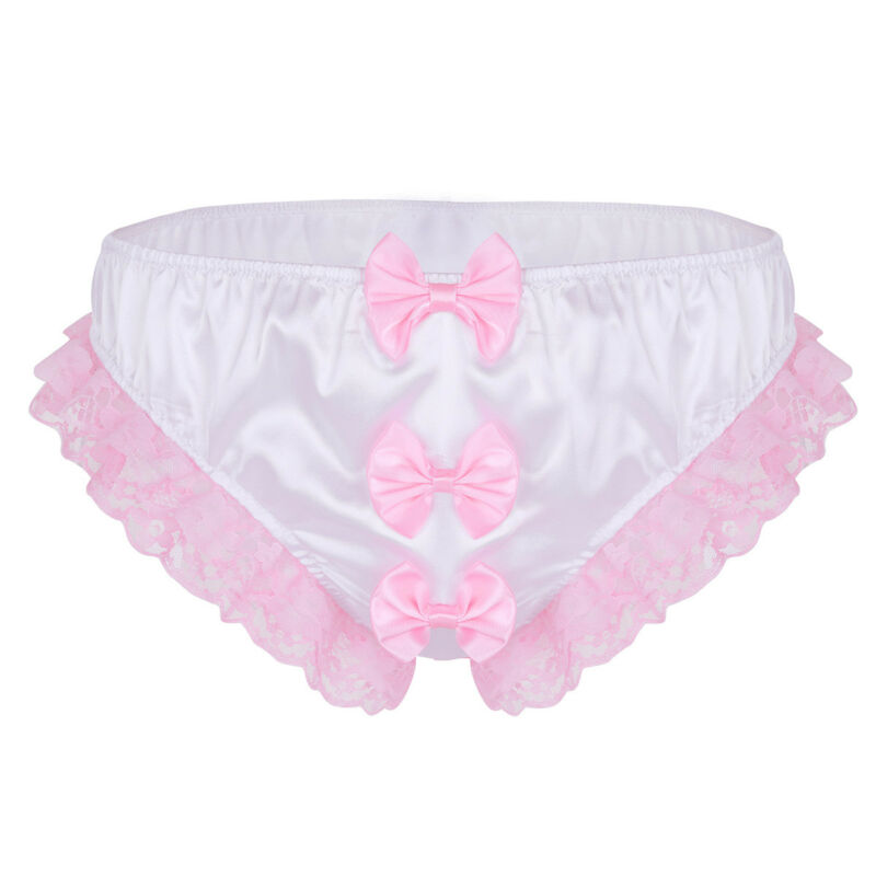 Lingerie Bikinis Sexy Mens Shiny Ruffle Underwear Panties Bows Briefs Thong L 4