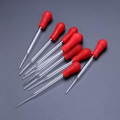10PCS 9cml long Reusable Laboratory Glass Pipette Dropper Rubber Head 8