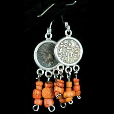 A pair of earrings with central Bactrian empire silver coated copper coin. y2774 2
