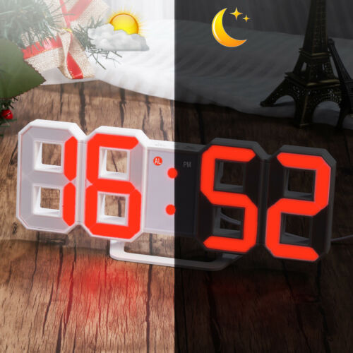 LED Digital Numbers Table, Wall, Clock Large Digit 3D Display Alarm Snooze Clock