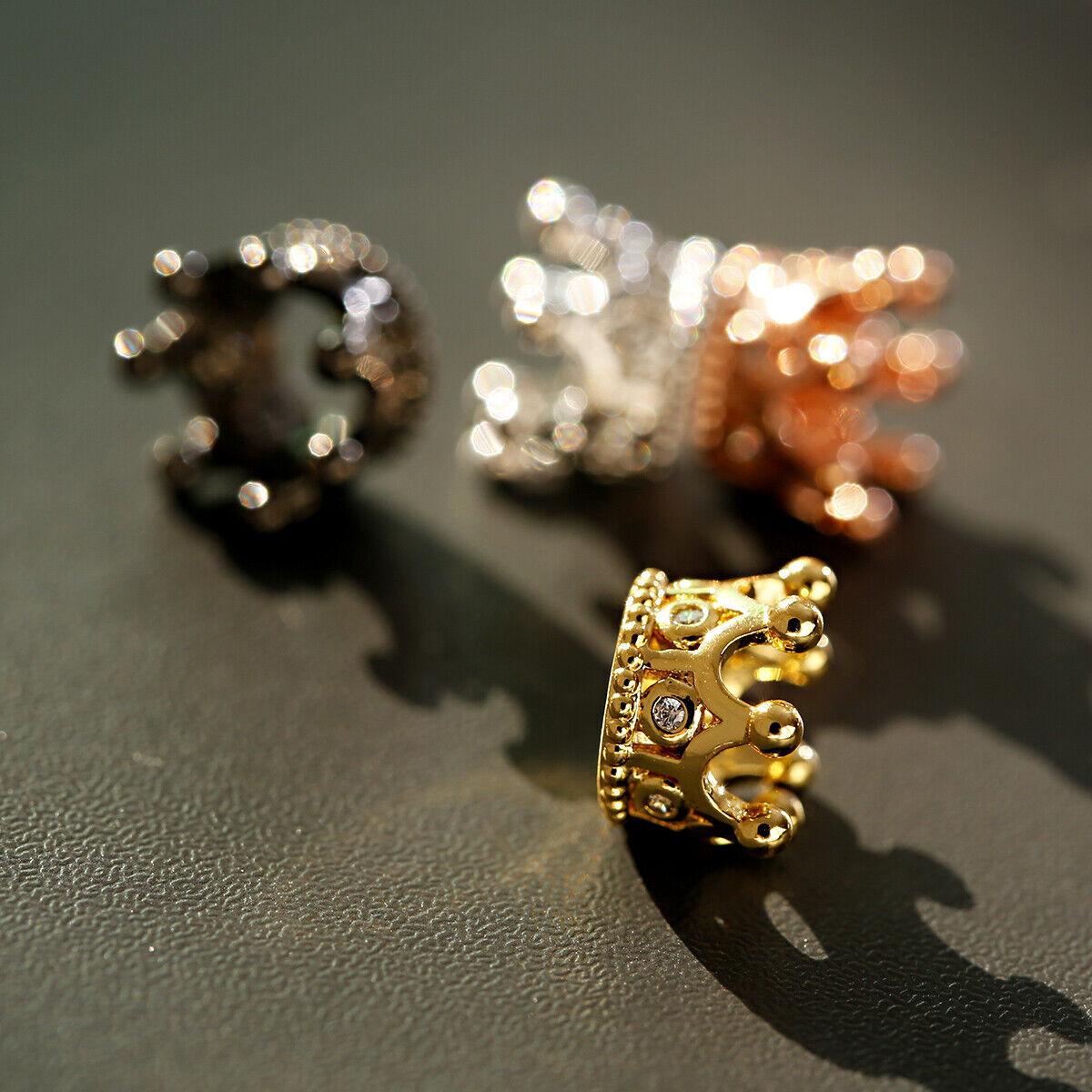Zircon Gemstones Pave Queen Crown Bracelet Brass Copper Connector Charm Beads 12
