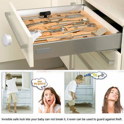 Invisible Magnetic Baby Child Locks Pet Proof Cupboard Drawer Safety Lock Catch 8