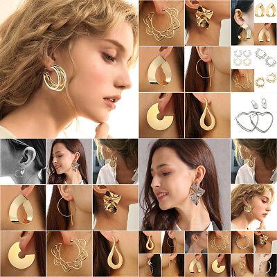 1 Pair Women Multi Style Circle Large Big Linked Hoop Dangle Long Earrings Studs 2