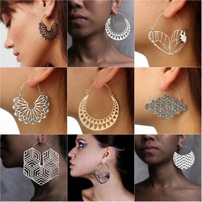 Retro Vintage Antique Mesh Hollow Out Filigree Geometric Hoop Earrings For Women 2
