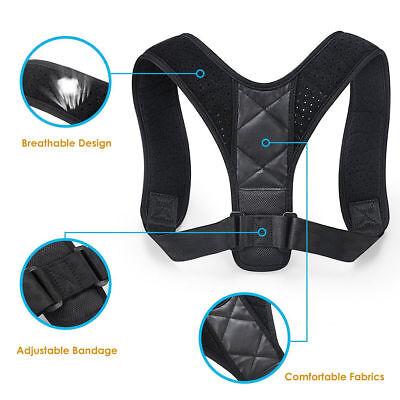 Back Brace Posture Corrector Adjustable Lumbar Support Therapy Shoulder Belt UK 3