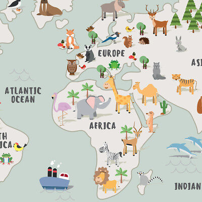 Children's A1 Animal Map of the World Large Poster Print Wall Art for Kids Room 5