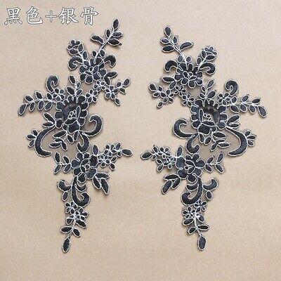 1Pair Embroidered Flower Lace Applique Motif Trim Wedding Dress Sew Crafts DIY 1 11