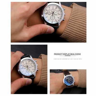 Men's Leather Military Casual Analog Quartz Wrist Watch Business Watches Gifts 7