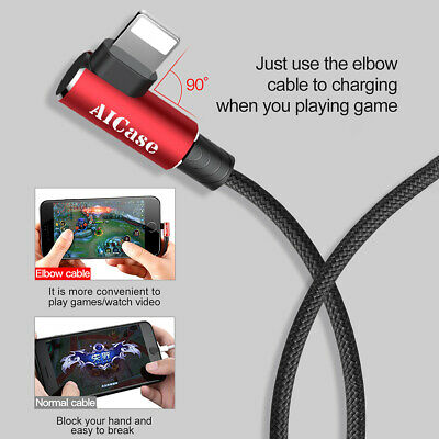 6ft Elbow Lightning Cable Charger Data Charging Cord For iPhone XR 7 8 6 Plus XS 9